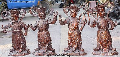 """26"""" Chinese Myth Temple Bronze 4 Great Heavenly Kings immortals Statue Set"""