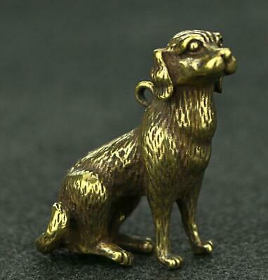 Collect chinese old Pure copper hand-made dog good luck Statue pendant AAa01