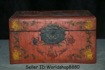 "8.8"" Marked Old Chinese Qing Wood Lacquerware Dynasty Crane Birds Jewelry box"