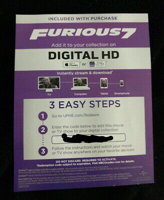 Fast & Furious 7 Extended Edition HD Digital: Fast Shipping U.S. Seller