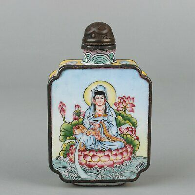 Chinese Exquisite Handmade Copper enamel Guanyin snuff bottle