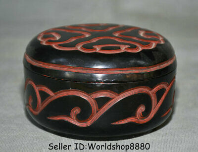 """4.4"""" Qianlong Marked Old China Dynasty Red Lacquerware Flower Round Jewelry box"""