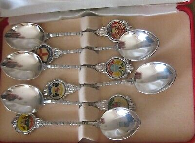 1 Boxed Set (6) Silver Plated Teaspoons - State Capitals Of Australia