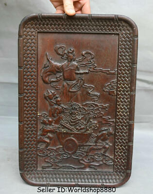 """14.2"""" Antique Old Chinese Dynasty Huanghuali Wood Carved immortal God Plate Tray"""