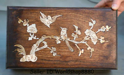 """11.2"""" Old Chinese Huanghuali Wood Inlay Shell Dynasty Flower Birds Jewelry box"""