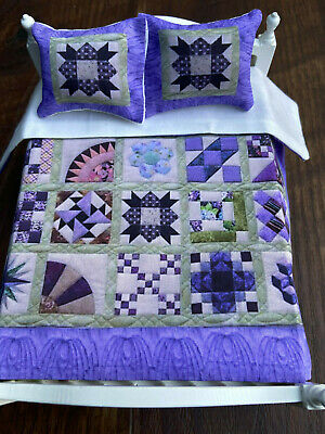 Miniature dollhouse Bedspread Comforter blanket with 2 Pillows 1:12 scale #C10