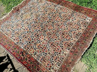 Large antique handmade wool rug; FREE POST