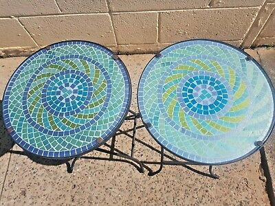 Wrought Iron and Glass - Blue Mosaic Outdoor Side Tables X 2