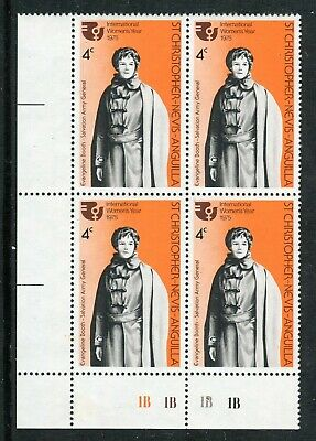 St KITTS or CHRISTOPHER 1975 SALVATION ARMY BLOCK OF 4 EVANGELINE BOOTH STAMP