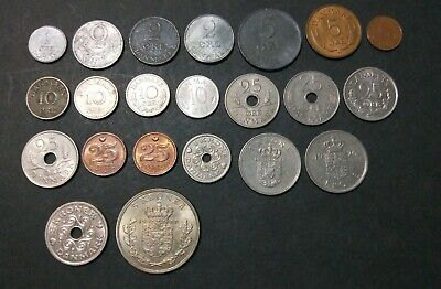 Denmark lot of 22 different Danish coins Ore & Krone