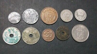 Denmark lot of 10 different Danish coins Ore & Krone