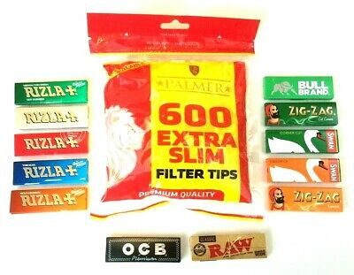 PALMER EXTRA SLIM FILTER TIPS and Cigarette Rolling Papers Rizla Swan ZigZag RAW