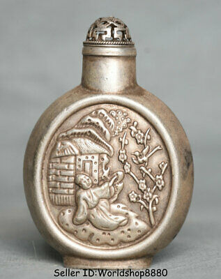 """3.2"""" Old China Silver Dynasty Palace People House Flower snuff box snuff bottle"""