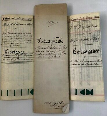 Antique Early 19th Century Land & Property Indentures With Seals. 1904