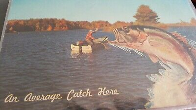 "VTG PostCard: AN AVERAGE CATCH HERE HSC-276 USA MirroKrome HSCrocker 5.5"" X 3.5"""