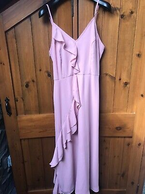 Pretty Little Thing Dusty Pink Nude Frill Maxi Strappy Dress Bridesmaid