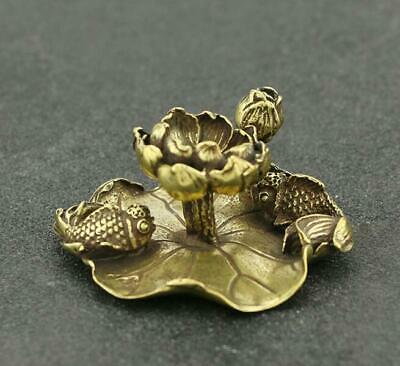 Collect chinese old Pure copper hand-made Lotus goldfish good luck Statue AAa02