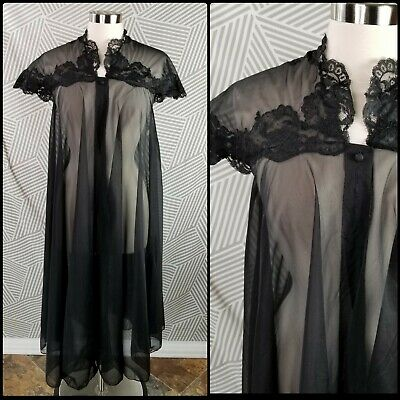 Vintage 70s 60s Short Robe Lingerie Size Small Sheer Nightgown sexy lace