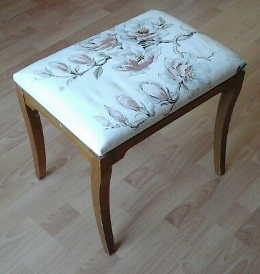 Vintage Piano Stool Teak Side Coffee Table Upholstered Seat Shabby Chic