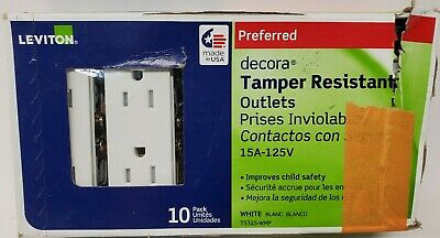 LEVITON DECORA TAMPER RESISTANT OUTLETS 15A-125V OPEN BOX pack of 10 T5325-W