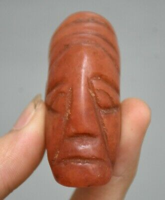 """2.6"""" Old China Hongshan Culture Red Crystal Carved sun god head Pendant Amulet"""