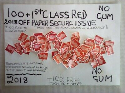 100 Unfranked 1St Class Red 2019 Secure Cutout Stamps  , Off Paper