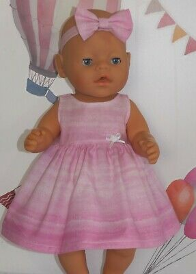 "Dolls Clothes to fit 17"" Baby Born Pink Dress with Flower"