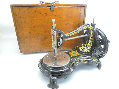 Antique Jones 'Serpentine' Hand Sewing Machine w/ Carry Case