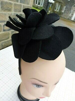 Ladies stylish wool felt black flower fascinator by Coast good condition