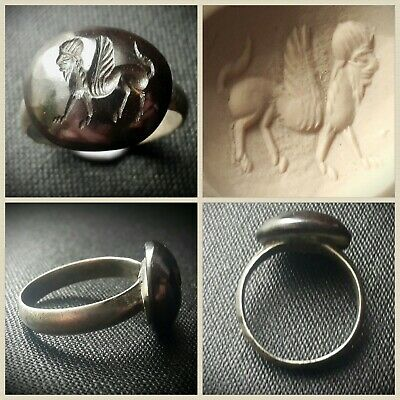 Ancient Roman Silver Ring With Stone Intaglio Of Lamassu 1St - 3Rd A.d.