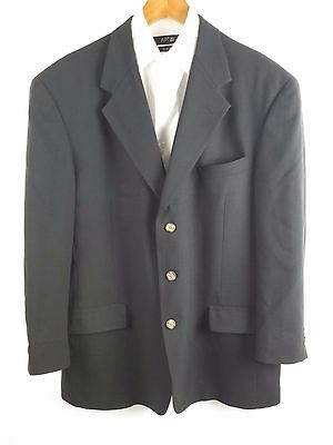 Tommy Hilfiger Black 3 Btn Wool 6 Pocket Mens Blazer Sport Coat Jacket 42R (A79)