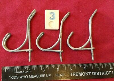 Vtg Twisted Wire Double Coat Hooks - Lot of 3 - Farmhouse Screw In - BB3 - 320