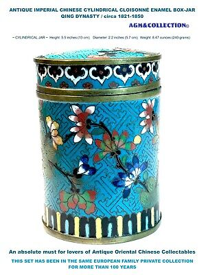 IMPERIAL CHINESE CLOISONNÉ ENAMEL ANTIQUE Cylindrical BOX / circa 1821-1850s