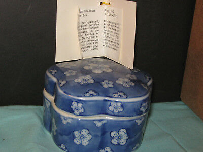 Hand Painted Mauve/Cream Floral Porcelain Ink Box With Description Made in China