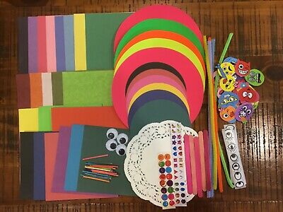 KIDS CRAFT PACK (210+ pcs) Paper/Stickers/Gems/Boggle eyes and more