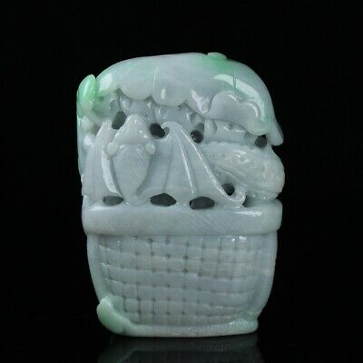 Chinese Exquisite Hand carved bat carving jadeite jade statue