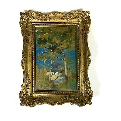 Small Antique Impressionist Oil on Board Landscape Painting in Small Gilt Frame