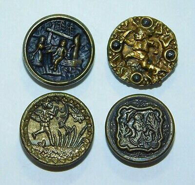 Antique VTG Victorian Metal CUT Steel STORY Picture Buttons Couple Well