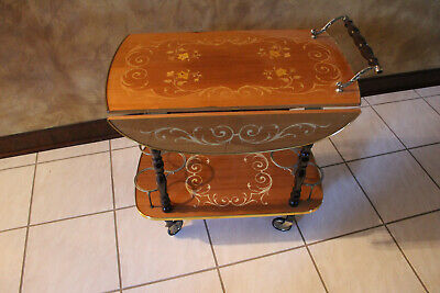 Vintage Italian Inlaid Laquered Wood Bar/Tea Cart