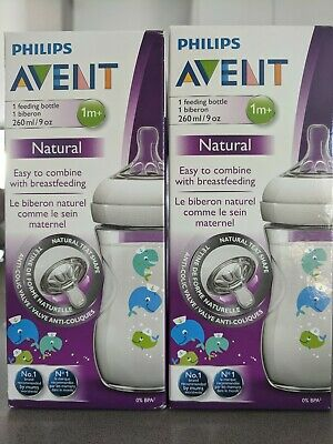 Philips Avent Natural Bottles 2 x 260ml Blue Whale Brand New pls see description