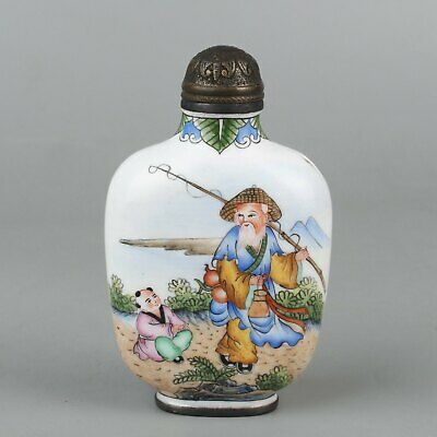 Chinese Exquisite Handmade character copper Enamel snuff bottle