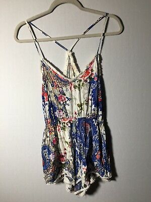 Unbranded Womens Colourful Playsuit Romper Size XS Aus 8 Rayon Good Condition