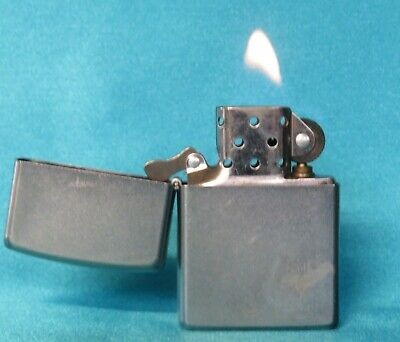 Very Collectable 2014 Satin Finish Chrome Zippo Lighter. Working!