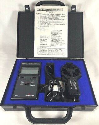 Extech Field Master 451112 Black Thermo-Anemometer With Vane Probe & Case