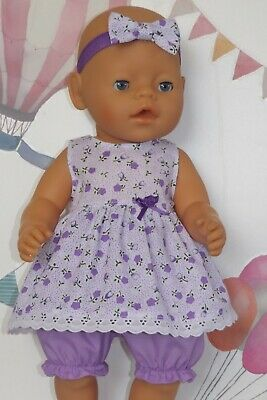 "Dolls Clothes to fit 17"" Baby Born White & Lilac with Lace and Bloomers"