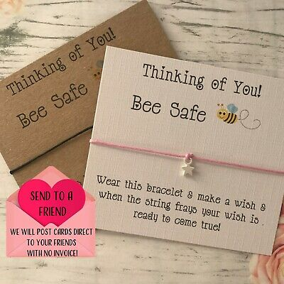 Bee Safe Friends Apart Miss You Wish String Charm Card Friendship Bracelet Gift