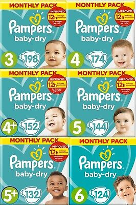 Pampers Baby Dry Nappies Diapers Monthly Saving Pack Size 3 4 4+ 5 5+ 6 7 8 NEW