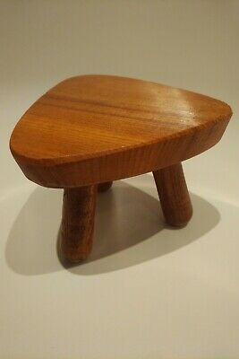 Vintage Antique Small Wooden Milking Stool Table Rest Planter Stand