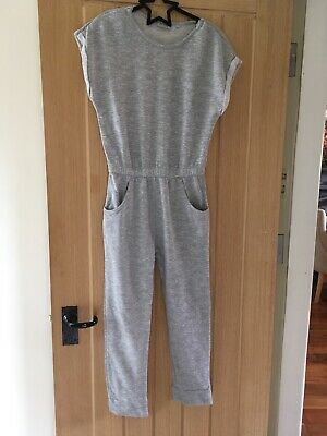girls NEXT grey marl jersey jumpsuit with pockets age 10 years