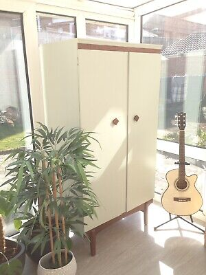 Remploy Mid Century Wood Wardrobe Painted Farrow & Ball Mizzle